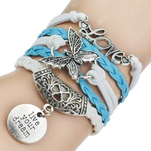 3/$20 Live your dream, love, butterfly bracelet